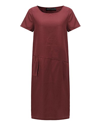 ZANZEA Femme Robe Retro Grande Taille Tunique en coton longue chemise manches courtes Robe Rouge foncé