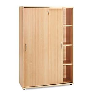 Schomburg Büromöbel SERIE4000 - (Buche braun, Aktenschrank hoch) - Breite: 100 cm Höhe: 150 cm Tiefe: 40 cm, abschließbar, 2 Schiebe-Türen, 4 Fächer (mit Ordnerhöhe) 3 Fach-Böden