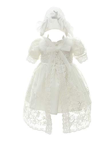 besbomig Süßes Infant Kurze Ärmel Prinzessin Kleid Taufkleid Outfits Babybekleidung - Baby Mädchen Hochzeit Partykleid Festzug mit Bonnet 0-24 Monate