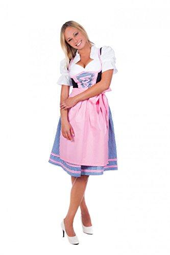 Bayerische Damen Midi Dirndl Kleid 3-teilig mit Schürze und Bluse pink blau karierte, 10, Rosa - 50