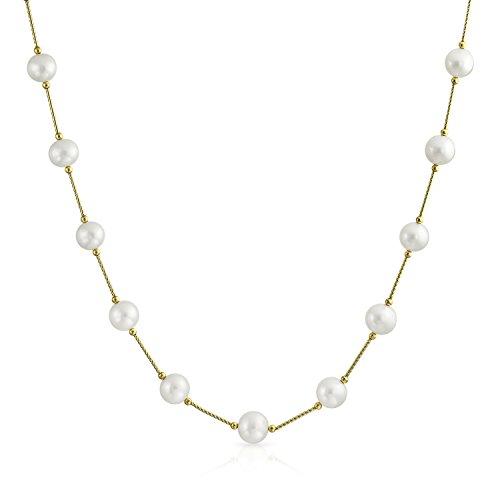 -Zuchtperlen 7Mm Bar Kettenglied Tin Cup Halskette 18 Zoll ()