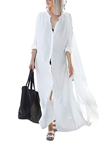 Bsubseach Mujer Blanca Camisa Verano Solapa Ropa Playa