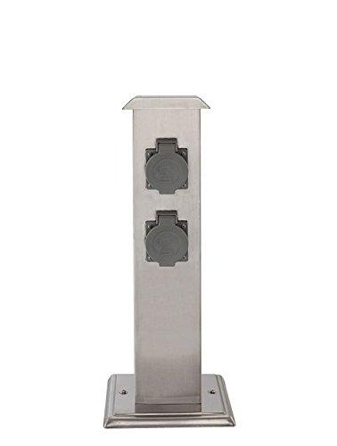 4-Fach Außen Stromversorgung Verteiler Garten Steckdosen Edelstahl IP44 Globo 37002-4