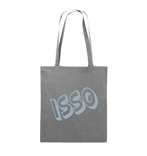 Comedy Bags - ISSO - COMIC SCHIEF - Jutebeutel - lange Henkel - 38x42cm - Farbe: Schwarz / Silber Dunkelgrau / Eisblau