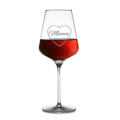 AMAVEL - Rotweinglas - Weinglas für Rotwein mit Gravur - Mama im Herzen - zarte Gravur - Schönes Muttertagsgeschenk - Standard - Geschenkideen für Mütter - Geburtstagsgeschenk - Füllmenge: ca. 644 ml (Hübsche Gläser Wein Für Frauen)