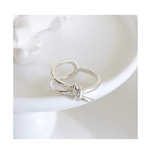 Daesar Damen 925 Silber Ringe Vintage Knot Freundschaftsing Silber Ring Gr.49 (15.6)