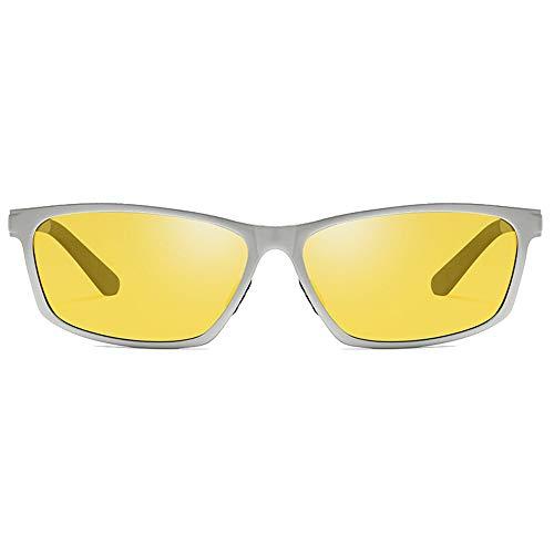 LCLZ Hohe Qualität Radfahren Sport Aluminium Magnesium Und Metall Material Neue Nachtsichtbrille Sonnenbrille Schwarz/Gelb Objektiv Silberrahmen Herrenfahrbrille (Farbe : Yellow)
