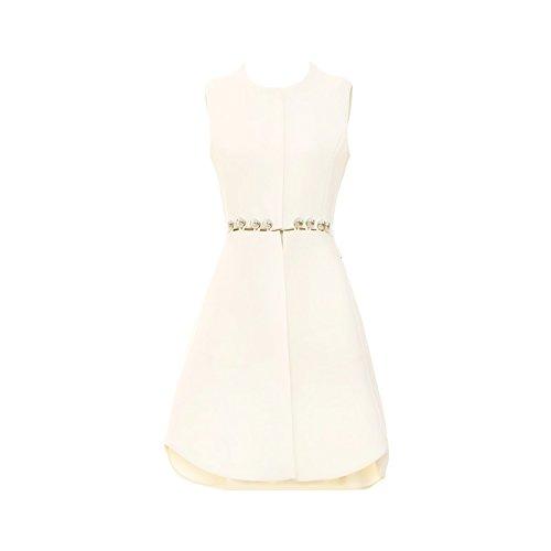 Xuanytp Spitzenkleid Ärmelloses Metall Geschnallt Taille Kleid/Unregelmäßiges Kleid, XL, Champagne White -