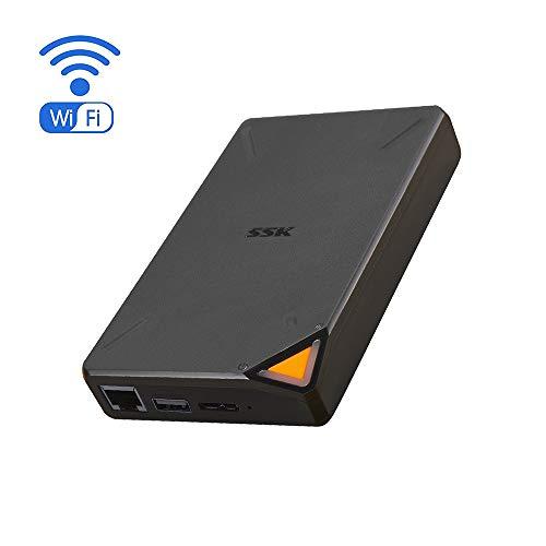 SSK Tragbare Externe drahtlose NAS-Festplatte 1TB Personal Cloud Smart Storage mit eigenem WLAN-Hotspot, automatischer Sicherung, drahtlosem Fernzugriff auf Telefon/Tablet-PC/Laptop