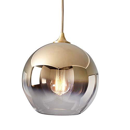 Gold-runde Glas-esstisch (Modern Glas Pendellampe Kugel-Form Lampenschirm Design Rund Pendelleuchte E27 Champagner-Gold Hängeleuchte Esstisch Esszimmer Küchen Hängend Deckenlampe φ20CM)