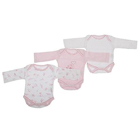 Bodys 100% coton à manches longues et motif ourson (lot de 3) - Bébé fille (12-18 mois (80-86cm)) (Rose)