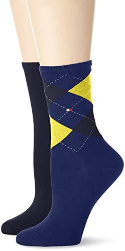 Tommy Hilfiger Damen TH Women Check 2P Socken, Mehrfarbig (Yellow Blue 740), 35/38 (Herstellergröße: 035) (2erPack) -