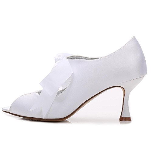 L@YC Femmes Satin et Dentelle Peep Toe P17061-22 Haut Talon Ruban Chaussures de Mariée D'Été de Mariage Ivoire