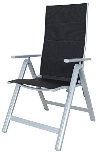 Chicreat 9-fach verstellbarer Campingklappstuhl mit hoher Rückenlehne, 2er-Set, Schwarz/Silber