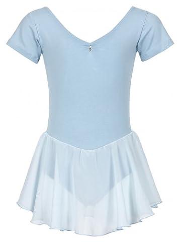 tanzmuster Ballettkleidung für Kinder: Kurzarm Ballettanzug Ballett Trikot Betty mit Chiffon Röckchen. Edles Ballettkleid mit Strass Applikation am Ausschnitt in hellblau,