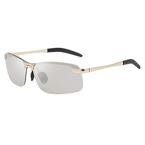 Polarisierte Sonnenbrille der Männer, Metallrahmenverfärbung, die Sonnenbrille fährt, Extreme Geschwindigkeitsänderung, Linse transparent, einheitliche Farbe, Uv400,C,OneSize