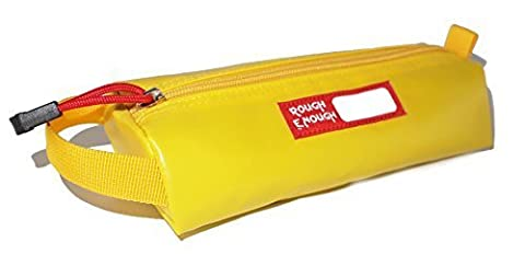 Rough Enough Colorful Tarpaulin Name Tag Small Pencil Case Pouch (Yellow) by ROUGH ENOUGH INC.
