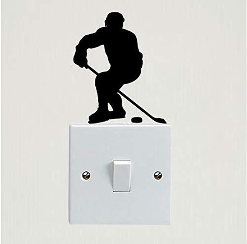 SMCLY Hockey Jugador Personalidad Dormitorio Vinilo Etiqueta De La Pared Interruptor De Luz Calcomanía