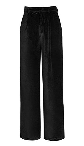 Mujeres Elegante Pantalones de Terciopelo Modernos Palazzo Anchos Pierna Pantalones Vino Rojo XL