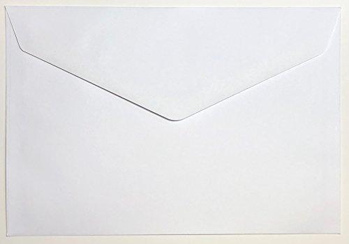 50 Briefumschläge DIN B6 Weiß 75g/m² mit spitzer Klappe nassklebend ohne Fenster (BU26) - 12 Fenster