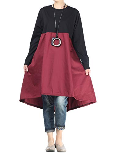 Vogstyle Women's New A line Dress Hi-Low Hem Long Blouse with Side Pockets (L, Style 3-red)