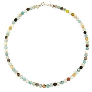 Amazonit Halskette Amazonit Kugeln mehrfarbig und facettiert Größe ca. 6 mm Verschluss 925er Sterling-Silber Nr. 4022H