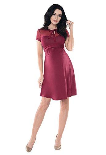 Weinrotes Schwangerschaftskleid aus Spitze knielang kurze Ärmel