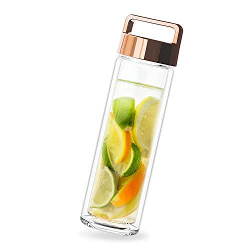 PRECORN Tee-to-go-Flasche Teeflasche 450ml doppelwandig mit Edelstahl Sieb & Deckel Gold -