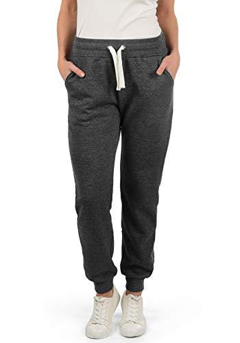 DESIRES Derby Damen Sweathose Sweatpants Relaxhose Mit Fleece-Innenseite Und Kordel Regular Fit, Größe:L, Farbe:Dark Grey Melange (8288)