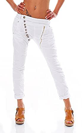 10476 Fashion4Young Damen Jeans Hose Spitze 3 Farben Röhrenjeans Haremshose Röhre Damenjeans (S = 36, Weiß)