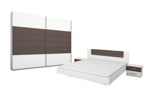 Rauch Schlafzimmer Komplett Set mit Bett 180x200, Schwebetürenschrank, Nachttischen Weiß Alpin, Absetzung Lavagrau