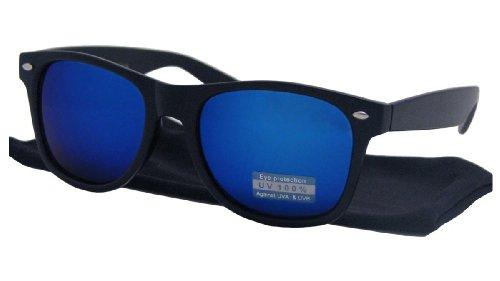 043f97f19916bc Lunettes de soleil style Wayfarer retro vintage 80 s - Verres effet miroir  bleu - Monture noir