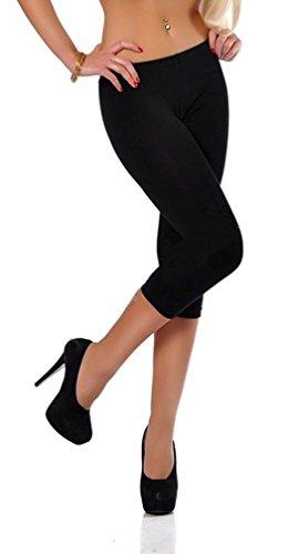 Dykmod Damen Leggins Leggings 3/4 Capri Plus Size mf103, Schwarz 56 - Plus Size Capri-leggings
