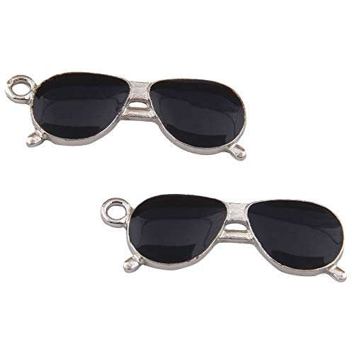 PandaHall 10 Stück Legierungscharme mit Emaille Schwarze Sonnenbrille Form Charms für Schmuck Schlüsselbund und Reißverschluss ziehen Machen