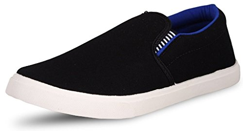 Leewon Men\'s Black Canvas Loafer - 7