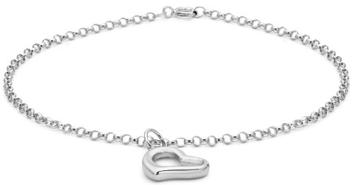 Carissima Gold 9 ct White Gold Round Belcher Heart Charm Bracelet of 19 cm