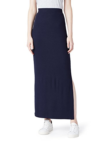 MERAKI Damen Slim Fit Maxi-Rock mit Feinripp, Blau (Blue), Small