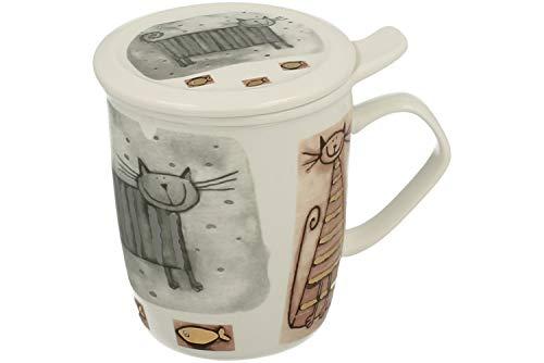 Duo Tee-Tasse Teebecher Set mit Teesieb (Porzellan) und Deckel Teetasse mit Sieb Geschenk-Tasse Cup with Tea Infuser 400 ml 3teilig in Geschenkbox Becher Geschenkset (Katze)