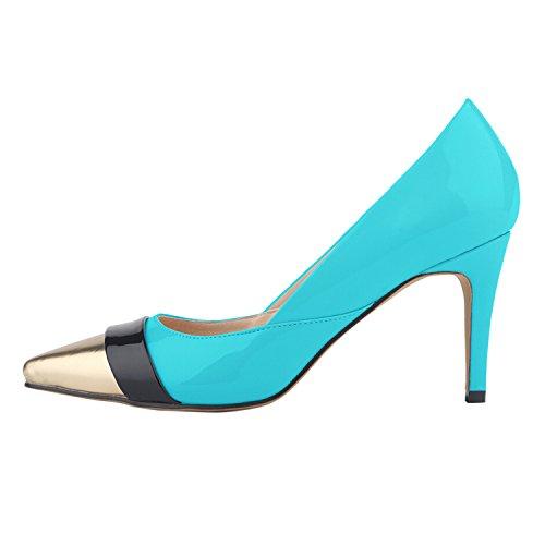 Azbro Women's Color Block Pointed Toe Stiletto Heel Pumps Blue