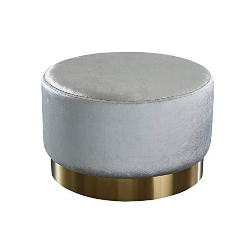 Invicta Interior Eleganter Couchtisch MODERN BAROCK 55cm Samt Silber Gold Hocker Sitzhocker Fußhocker Tisch Wohnzimmertisch Samtbezug Samtstoff