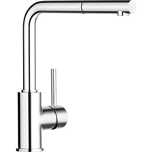 Blanco Mila-S, Einhandmischer mit ausziehbarer Schlauch-Brause / Küchenarmatur, Chrom, Hochdruck, 1 Stück; 519810