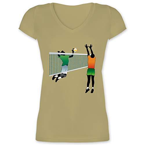 Volleyball - Volleyballspieler Netz Angriff Verteidigung - XS - Olivgrün - XO1525 - Damen T-Shirt mit V-Ausschnitt -