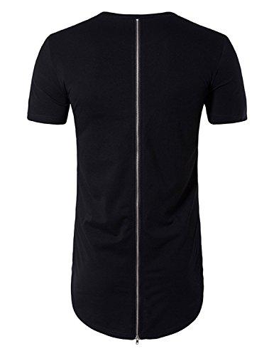 YCHENG Herren Sommer Casual Basic Rundkragen Kurzarm Sports Longline T-shirt Top Streetwear Einfarbig Schwarz