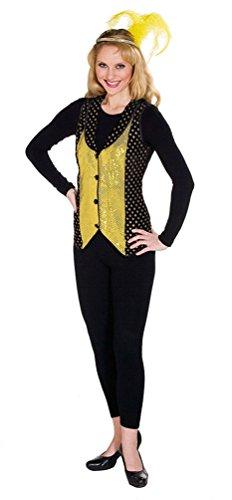Karneval-Klamotten Pailletten-Weste Gold schwarz Damen Weste Damen-Kostüm Größe 40