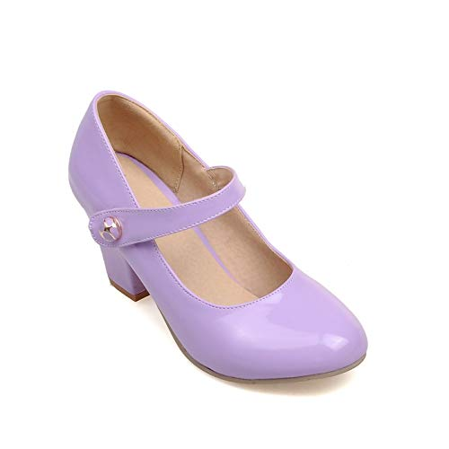 MENGLTX Bi g Größe 33-43 Damen Pumps Mary Jane Gurtband Freizeit Blockabsatz Schuhe Mode Sommer Candy Farbe Lackpumps 10 Lila - Mary Purple Schuhe Jane