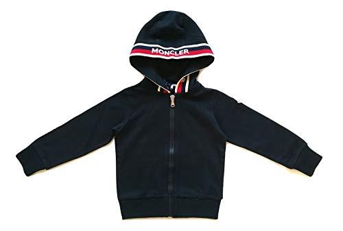Moncler junior felpa maglia cardigan con cappuccio full zip bambino 8415605 blu 4 anni