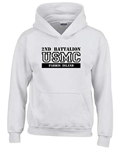 Usmc Parris Island (Speed Shirt Kapuzen-Sweatshirt fur Kinder Weiss OLDENG00285 USMC 2ND Battalion Parris Island)