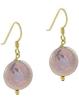 Edle Ohrringe / Ohrhänger mit lila Süßwasserperlen – 24 Karat Gold Vermeil