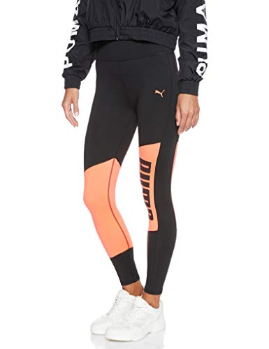 PUMA Damen Logo 7/8 Graphic Tight Leggings, Black-Pink Alert, S