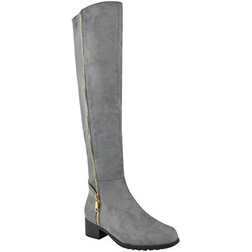 Damen Overknee-Stiefel - niedriger Absatz - Stretch - Reißverschluss - Grau Veloursleder-Imitat - EUR 39 (Veloursleder-wedge-stiefel)